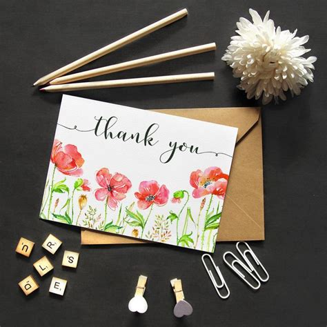 Pdf Thank You Note For Flowers by Printable Thank You Card Watercolor Flowers Poppies