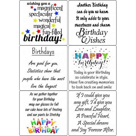 Birthday Card Sentiments For peel birthday sentiments sticky verses for cards