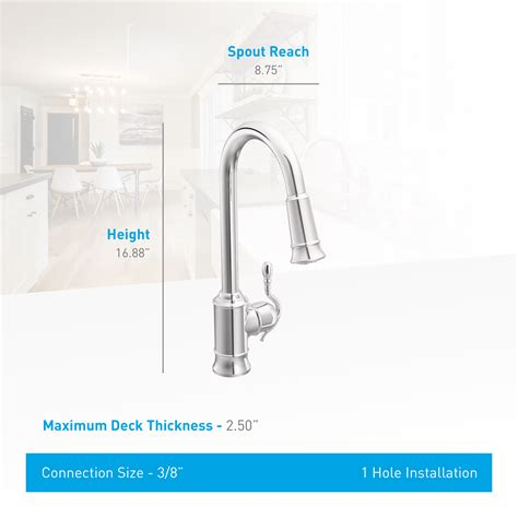 shop moen woodmere classic stainless pull down kitchen faucet com 7615srs in spot resist stainless by moen