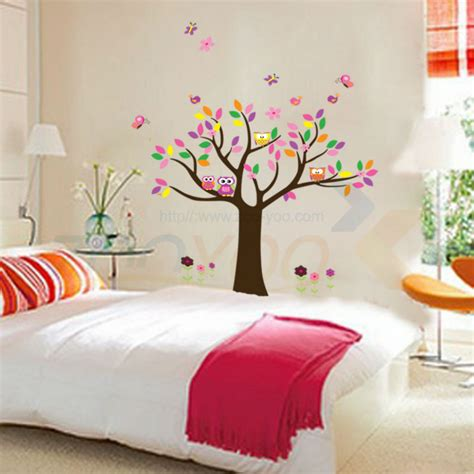 bella home decor bella colorfull albero gufi per home decor adesivo