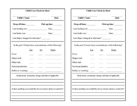 daycare check in form daycare forms free printable and
