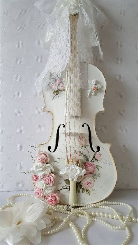 shabby wanddeko now reserved shabby chic violin and painted