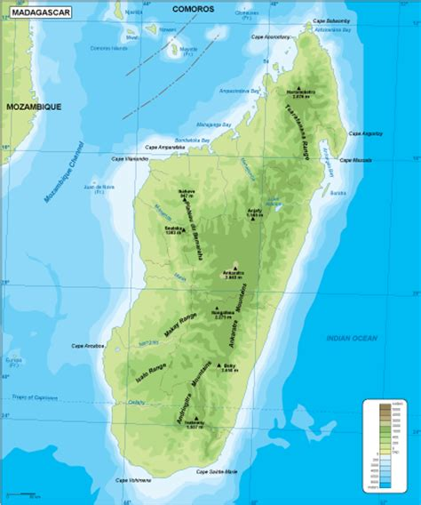 physical map of madagascar madagascar maps vector wall maps made in barcelona