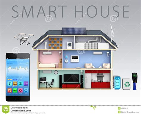 house app smartphone app and energy efficient house for smart house concept stock illustration