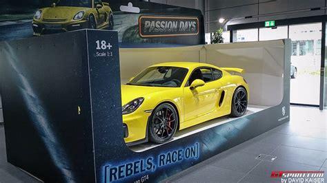 porsche toy car porsche presents cayman gt4 as full sized toy car gtspirit