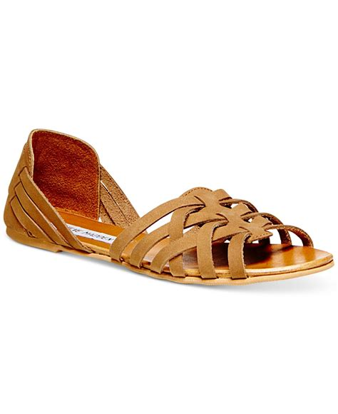 woven sandals for lyst steve madden s flute woven sandals in brown