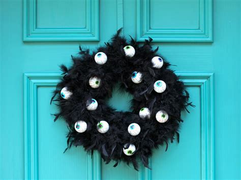 mustache and googly eyes door decor how to make a wreath with scary googly eyes how tos diy