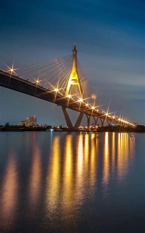 light reflection bridge  night android wallpaper
