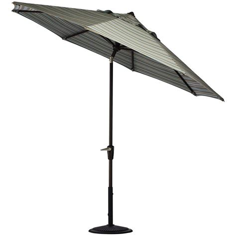 Black Patio Umbrellas Home Decorators Collection 9 Ft Auto Tilt Patio Umbrella In Cilantro Stripe Sunbrella With