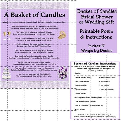 unique bridal shower ideas candle poem wedding candle basket gifts diy gifts and search