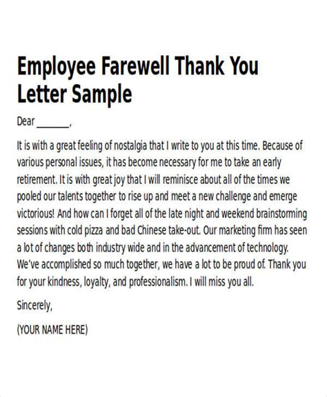 thank you letter for worker sle work thank you notes 6 exles in word pdf