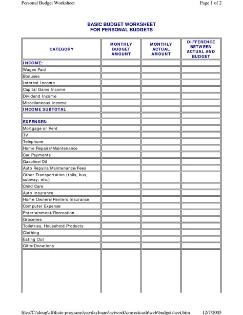 Basic Budget Template best photos of template of budget sheet personal monthly