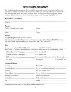 Rent A Room Agreement Template by Free Printable Rental Lease Agreement Form Template