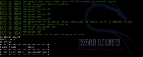 sqlmap tutorial in kali linux hacking website with sqlmap in kali linux kali linux