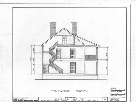 Section Drawing Of A House by Cross Section Barker House Edenton Carolina