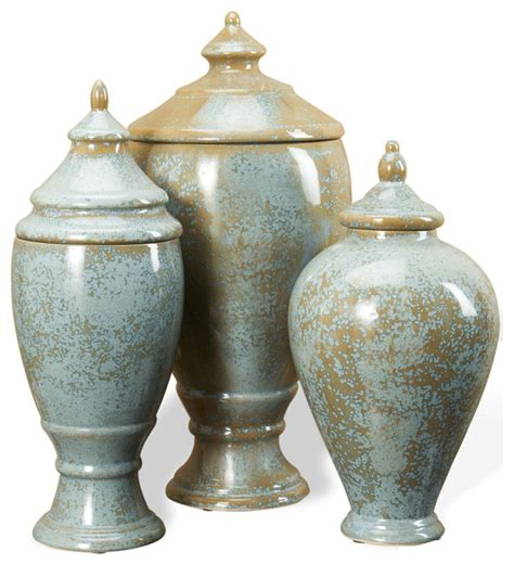 Decorative Urns And Vases Huxley Robins Egg Blue And Brown Lidded Decorative Jars