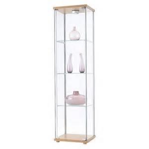 Ikea Glass Display Cabinet With Lights Ikea Detolf Glass Curio Display Cabinet Light Brown By