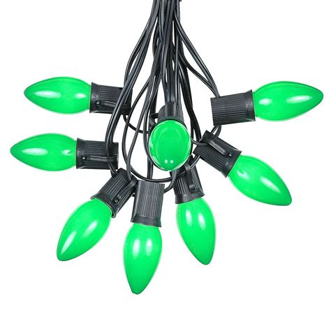 100 green ceramic c9 vintage christmas light set on black