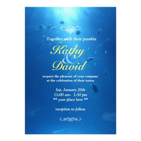 Water Themed Wedding Invitations beautiful underwater sea themed wedding invitation 5 quot x 7