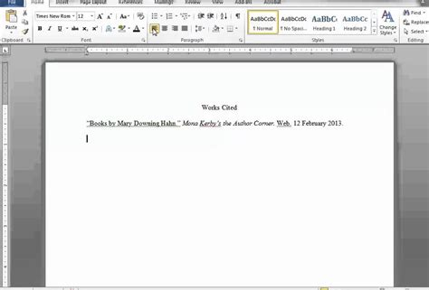 a works cited page in word and docs