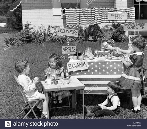 the kids backyard store 1950s kids in backyard playing store with signs selling