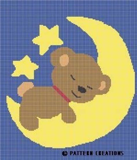 Filet Crochet Patterns For Home Decor crochet pattern teddy bear sleeping on moon graph chart e