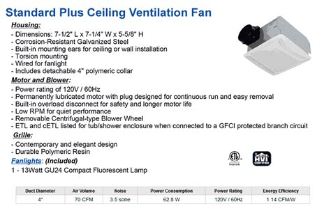 exhaust fan specification pdf standard bathroom fan duct size thedancingparent com