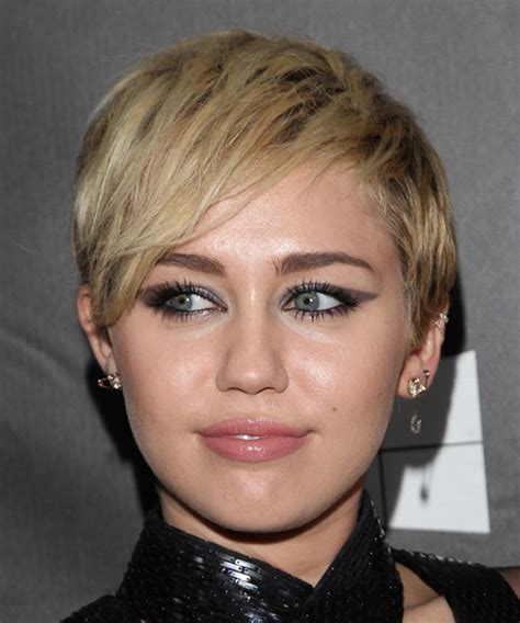 Miley Cyrus Short Straight Casual Hairstyle   Medium Blonde