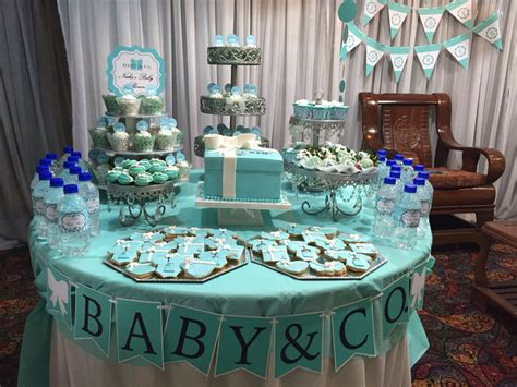 baby shower table quot baby co quot themed baby shower table made tiffany blue