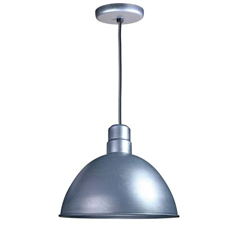 Outdoor Galvanized Lighting Illumine 1 Light Outdoor Hanging Galvanized Bowl Pendant Cli 79 The Home Depot
