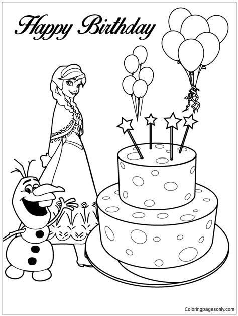 happy birthday olaf coloring page anna olaf and happy birthday cake coloring page free