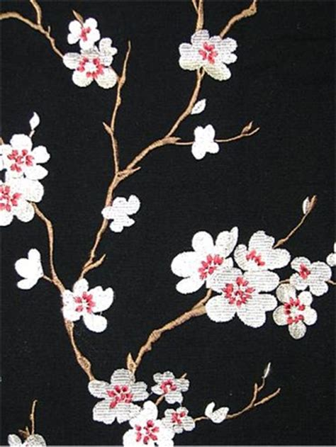 cherry blossom upholstery fabric hangzhou ebony embroidered fabric crewel fabric