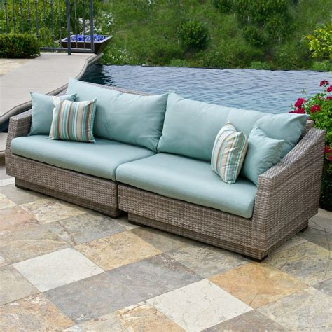 outdoor garden sofa rst brands cannes 2 piece patio sofa with bliss blue