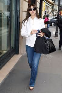monica bellucci in jeans monica bellucci wears white shirt blue jeans out