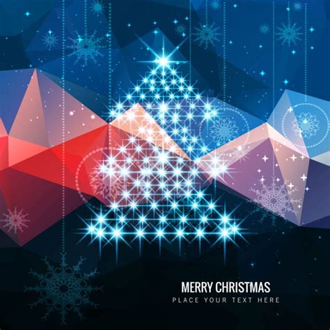 shiny christmas tree on polygonal background vector free