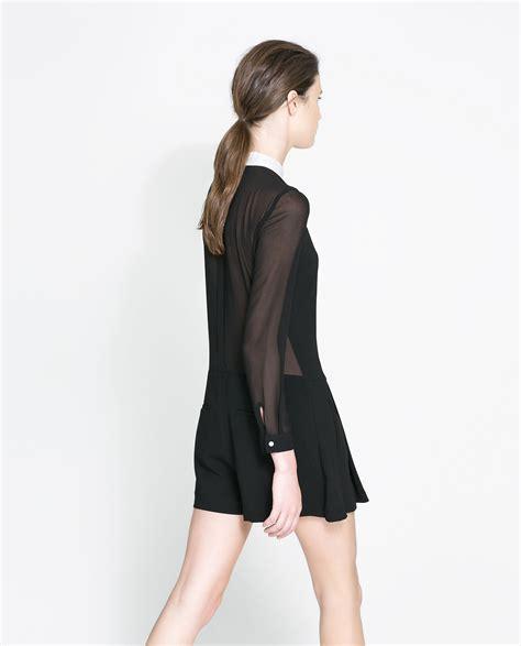 zara in black for lyst zara combination playsuit in black lyst