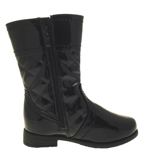 faux patent leather quilted biker boots black