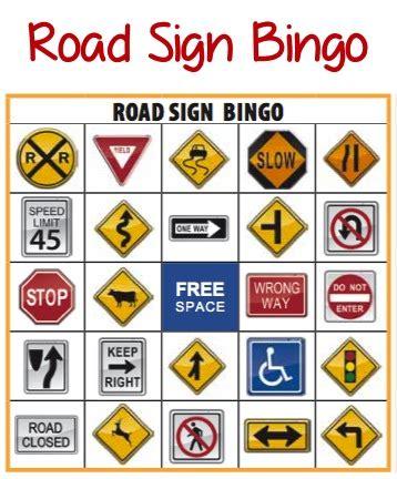 free printable worksheets road signs road sign bingo more printable road trip games kids