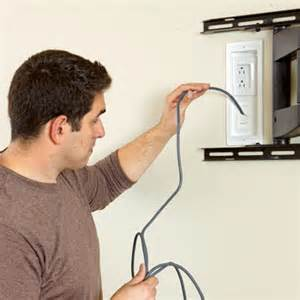 insert the cables how to hang a flat screen tv this