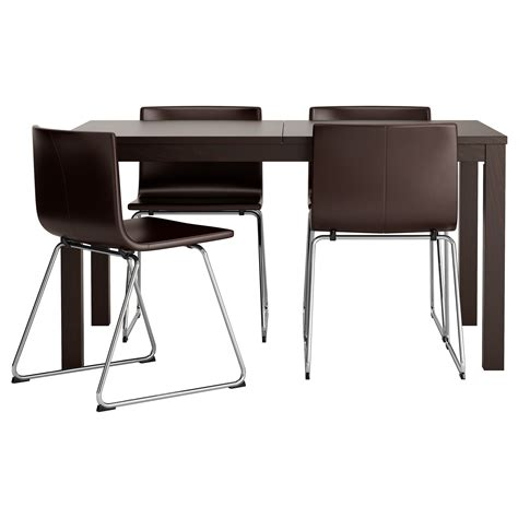 Brown Dining Table And Chairs Bernhard Bjursta Table And 4 Chairs Brown Black Kavat Brown 140 Cm Ikea