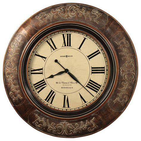 traditional wall clock howard miller 37 1 4 quot large brown wall clock le chateau