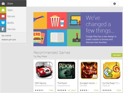 Play Store Website Play Store For The Web Redesigned To Match Android