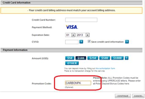 Where Is The Promotional Code On A Visa Gift Card - carbon poker promo code