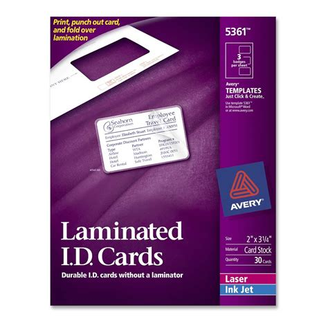 avery laminated id cards template printer