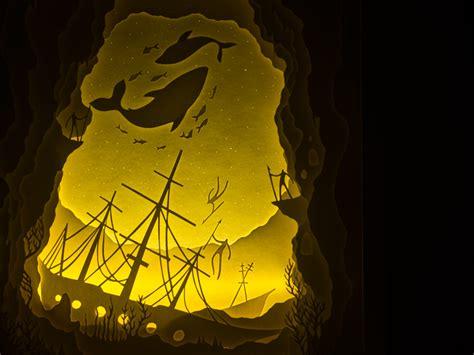 Illuminated Cut Paper Light Boxes By Hari Deepti Colossal Papercut Lightbox Template