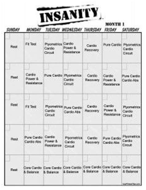 insanity workout calendar on insanity workout