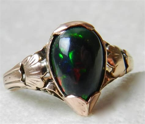antique black opal ring opal engagement ring 18k