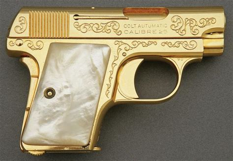 Gold Gun L by Colt 1908 Vest Pocket Semi Auto Pistol Engraved And Gold Was