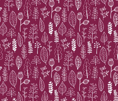 Spoon Fashion Maroon soft fall winter garden leaf and flowers scandinavian style illustration print maroon cherry