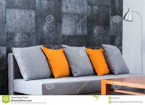 comfortable couch pillows large comfortable sofa in lounge stock image image of